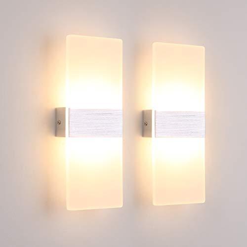 K-Bright 2 Stück Wandleuchte Innen 12W Wandlampe Acryl Wandbeleuchtung Modern für Wohnzimmer Schlafzimmer Esszimmer Treppenhaus Flur Korridor Warmweiß 3000K