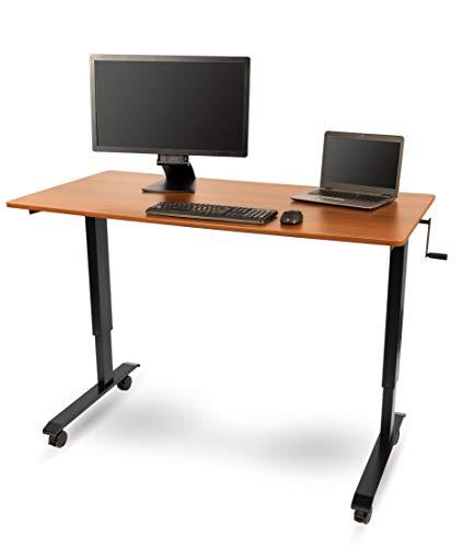 Stand Up Desk Store Höhenverstellbarer Schreibtisch (Rahmen schwarz/Teakholz, Schreibtisch Länge: 150cm)