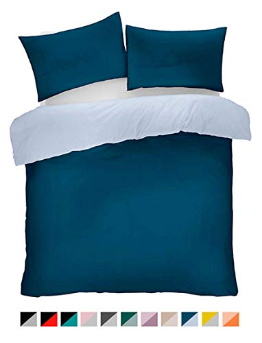 Lions Navy and Blue Reversible Plain Duvet Quilt Cover Set Single With Pillowcase Easy Care Bedding