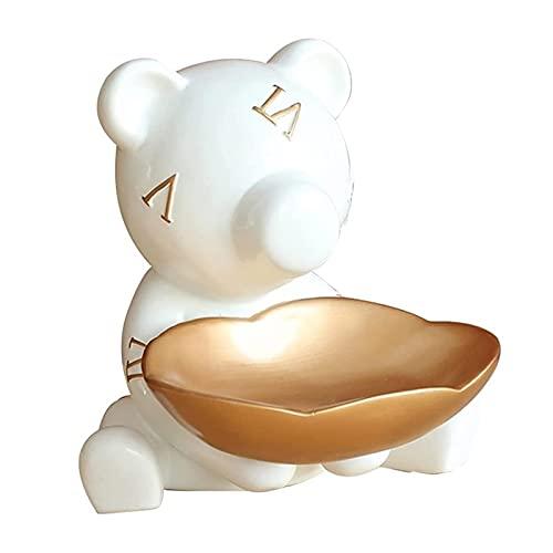 KHUY Vaciabolsillos Recibidor, Joyería Resina Material Fundamental Almacenaje, Organizador Llaves Multifuncional Cambio de Relojes y Bandejas de Almacenamiento de Dulces (Color : White)