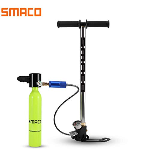 SMACO Scuba Tank for Diving Tank Mini Scuba Dive Cylinder Support 5-10 Minutes 0.5L Capacity Scuba Diving Equipment Tank Mini Scuba Tank Breath Underwater Device Professional Pony Bottle, Green-B