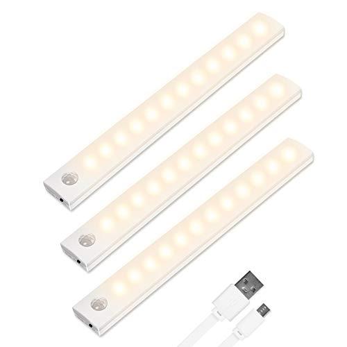 Vicloon LED Sensor Licht 12 LED, 3 Stück LED Schrankbeleuchtung mit Bewegungsmelder+Magnetstreifen, Auto/ON/OFF, Wiederaufladbar Schranklicht für Küche,Kleiderschrank,Treppe,Schublade,Flur - Warmweiß