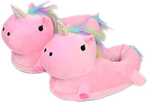 NHSUNRAY Einhorn Hausschuhe Fantasy Unicorn Plüsch Leuchtend Kuschelig Neuheit Tier Pantoffeln - Einheitsgröße (Rosa)