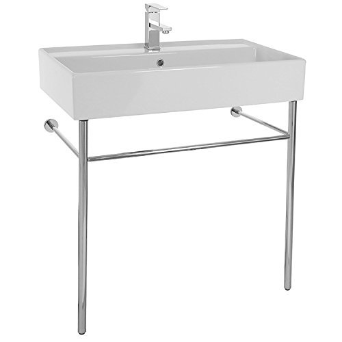 Scarabeo 8031/R-80-CON-One Hole Teorema Rectangular Ceramic Console Sink and Polished Chrome Stand, White