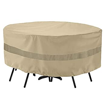 SunPatio Outdoor Table and Chair Cover Waterproof Round Patio Furniture Set Cover with Taped Seam Heavy Duty Dining Table Set Cover 72  Dia x 30  H All Weather Protection Beige