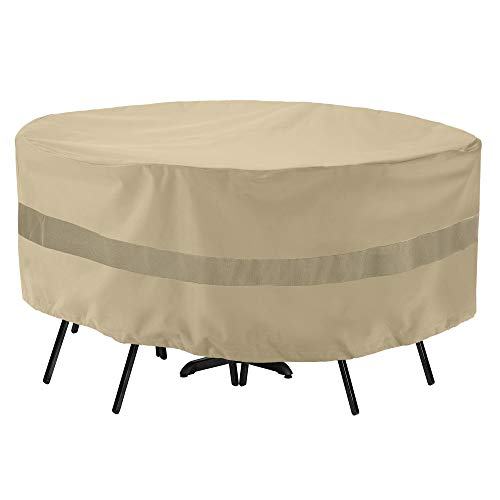 "SunPatio Outdoor Table and Chair Cover, Waterproof Round Patio Furniture Set Cover with Taped Seam, Heavy Duty Dining Table Set Cover 72"" Dia x 30"" H, All Weather Protection, Beige"