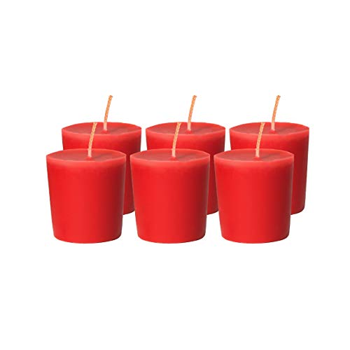 CandleNScent Red Votive Candles   Unscented - 15 Hour Burn Time - Made in USA (Pack of 6)