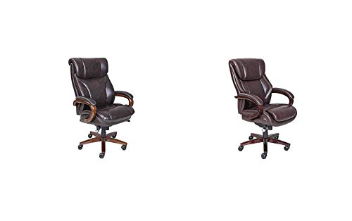 La-Z-Boy Trafford Big and Tall Executive Office Chair with AIR Technology, High Back Ergonomic Lumbar Support & Bellamy Executive Office Chair with Memory Foam Cushions, Bonded Leather Brown