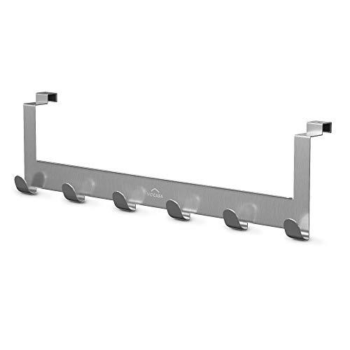 MDCASA Türgarderobe lang für die Rückseite - Edelstahl mit Anti Fingerabdruck Beschichtung - Hakenleiste Tür - Handtuchhalter Bad - Türhakenleiste - 520 x 145 x 68 mm