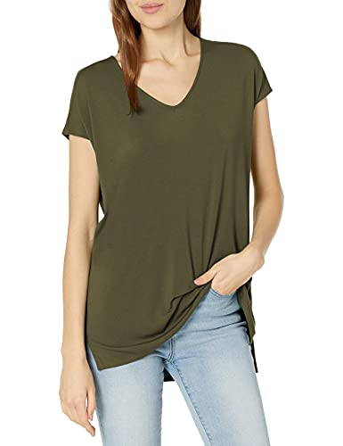 Daily Ritual Women's Jersey Oversized Dolman-Sleeve V-Neck Tunic, Forest Green,Large