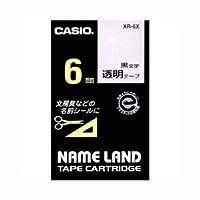 (業務用セット) カシオ ネームランド用テープカートリッジ スタンダードテープ 8m XR-6X 透明 黒文字 1巻8m入 【×5セット】