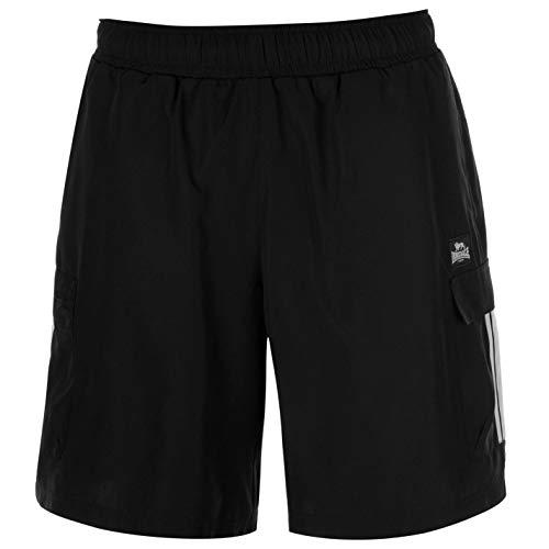 Lonsdale Herren Gewebte Cargo Shorts aus Polyester Schwarz M