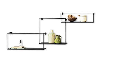 LIFA LIVING Modern Wandrek, Set van 3, Zwarte Wandplanken, Metalen Rekken, Industriële Wanddecoratie, Vierkante en Rechthoekig Muurrek voor Woonkamer, Slaapkamer, Keuken