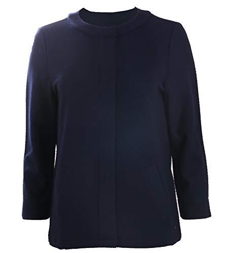 Olsen Jersey Jacke Klassische Damen Strickjacke Business-Jacke mit Perlstruktur Jäckchen Marineblau, Größe:38