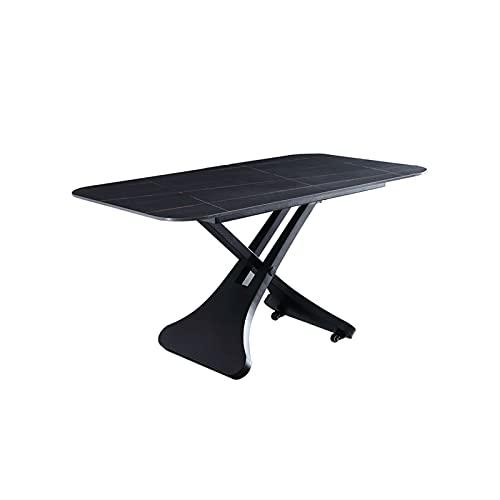 Tolalo Levantar la mesa de comedor multifuncional Tablero de roca Mesa de comedor Ajustable en altura También se puede usar como mesa de centro con ruedas Libres para mover el marco de acero al carbon