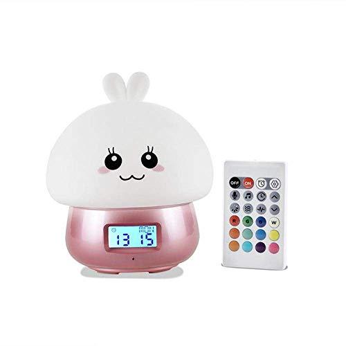 TEHWDE Intelligente wekker, multifunctionele touch-sensor, siliconen nachtlampje, LED-nachtlampje, nachtlampje, lednachtlampje, padlicht voor kinderen, baby, kinderen, tafel, reis, decoratieklok voor kinderen