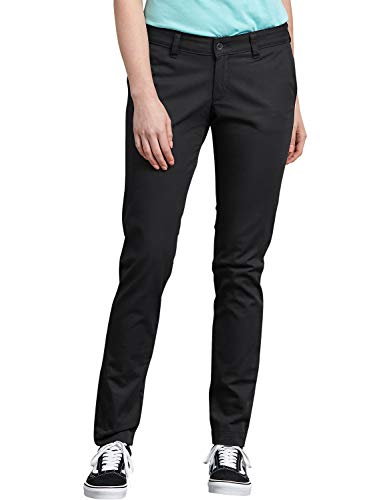 Dickies Women's Mid-Rise, Skinny Stretch Twill Pant, Rinsed Black, 10