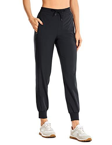 CRZ YOGA Women's Drawstring Lightweight Elastic Waist Joggers Pants Lounge Workout Running Sweatpants with Zipper Pockets Black_Zipper Pockets Medium