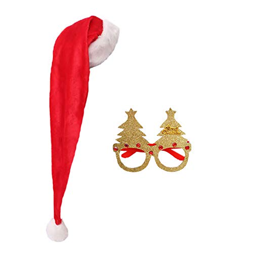 Christmas Long Santa Hats Party Glasses Frame Plush Red Hats Xmas Tree Glitter Eyeglasses Creative Funny Eyewear Deluxe Caps Unisex Cosplay Costume Soft Hats Cute Holiday Party Favors Supplies Short
