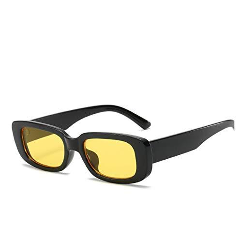 ZYHWS Gafas de Sol de la Vendimia para Las Mujeres Retro diseñador de la Marca Pequeño rectángulo Gafas de Sol Sombras de gradiente Classic Gafass (Frame Color, Lenses Color : Yellow)