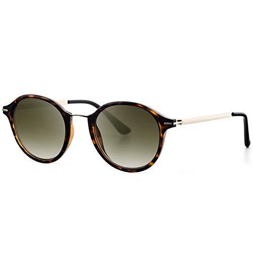 Avoalre Gafas de Sol Mujer Vintage Retro Leopardo Gafas de Sol Mujer Redondas en Moda 2018 Lentes Protección UV400 Punte Metal y Montura de Acero Inoxidable para Viaje Playa Fiestas Conducir