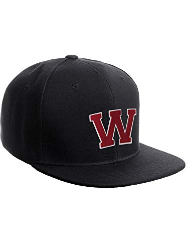 Classic Snapback Hat Custom A to Z Initial Raised Letters, Black Cap White Red Letter Initial W