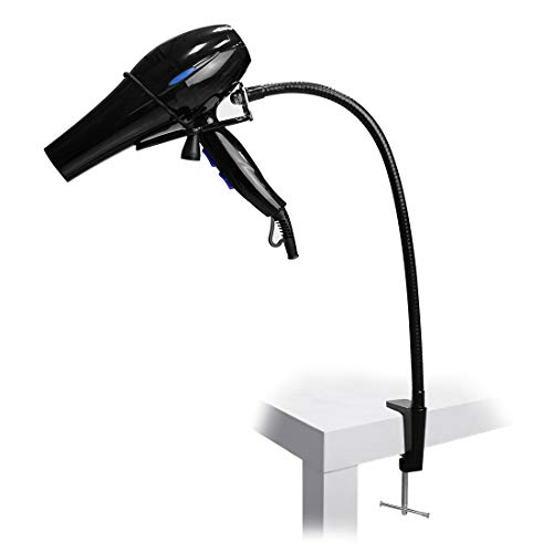 LUEXBOX Hands Free Blow Dryer Holder, Stainless Steel Hair Dryer Stand Clamp Mount for Countertop, Adjustable Hair Dryer Holder for Dog Grooming Table Arm with Clamp (Black)