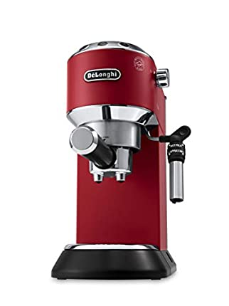 De'longhi Dedica - Cafetera de Bomba de Acero Inoxidable para Café Molido o Monodosis, Cafetera para Espresso y Cappuccino, Depósito de 1.3 Litros, Sistema Anti-goteo, EC685.R, Rojo