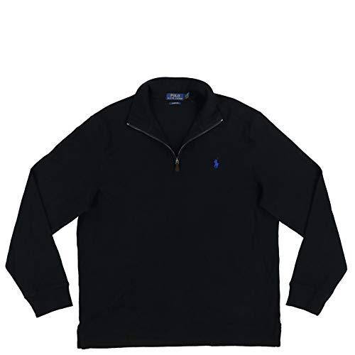 Polo Ralph Lauren Mens Quarter Zip Estate Rib Sweater (S, Classic Black)