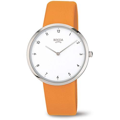 Boccia Damen Analog Quarz Uhr mit Leder Armband 3309-01