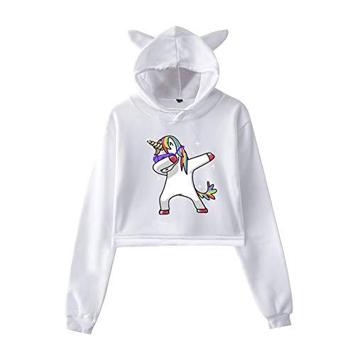 Unicornio Sudadera con Capucha y Orejas de Gato Crop Top Manga Larga Mujer Camiseta Corta Niña Adolescente Blusa Sueter Jersey Otoño Invierno Hoodie Harajuku Sweatshirt Swag Jumper T Shirt Streetwear