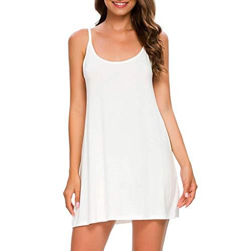MORETIME Damen Kleid Mode Einfarbige Minikleid Unter Kleid SpaghettiträGer Kleid TräGerkleid Weiß S