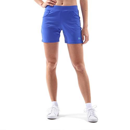 Sportkind Mädchen & Damen Tennis, Fitness, Bermuda Shorts mit Taschen, atmungsaktiv, UV-Schutz, Kobaltblau, Gr. 134