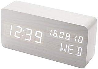 LED目覚まし時計、多機能長方形デスクトップパーペチュアルカレンダー時計、LED電子サウンドコントロールウッドクロック学生目覚まし目覚まし時計(ブラウンシルバーブラック) WC-26 (Silver)