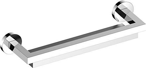 KEUCO Duschablage aus Metall hochglanz-verchromt und Aluminium silber, magnetischer Glas-Abzieher, 11x40x6cm, Wandmontage in der Dusche, Edition 90