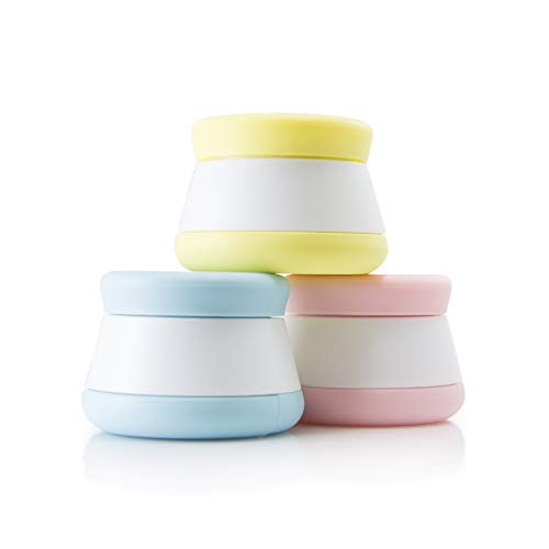 Travel Containers, Silicone Cream Jars - NEW LEAK-PROOF DESIGN - TSA Approved Small Travel Containers (3 Pack)