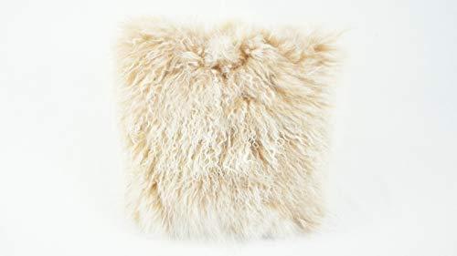 bokke Tibet Lammfell Kissen, Natürliches, Karamel Meliert, 40x40cm