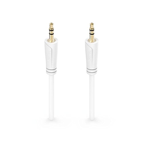 Hama Audio-Klinkenkabel, 0,5m (3,5mm Klinken-Stecker auf 3,5mm Klinken-Stecker, extra kleine Stecker, Stereo, vergoldet) Audio Kabel, Verbindungskabel weiß