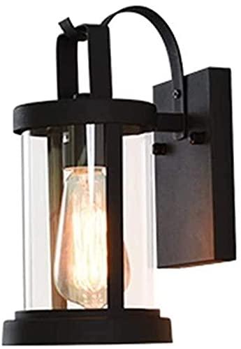 Lámpara de pared de vidrio impermeable para exteriores, color negro simple, decoración de pared interior, para jardín, patio, villa, pasillo, escalera, calle, sótano, tienda, bar
