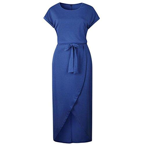 AMSKY ❤ Women Dress,Women's Summer Casual Short Sleeve Maxi Dress Bandage T Shirt Dress by (2XL, Blue)