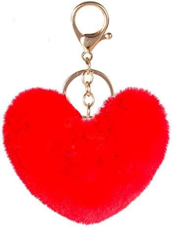Pom Poms Keychains Fluffy Heart Shape Pompoms Keyring Faux Rabbit Fur Key Chain for Car Bag product image