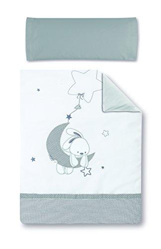 pirulos 77013120 – Housse Couette et housse coussin chauffant 100 x 135 design Luna, blanc et gris