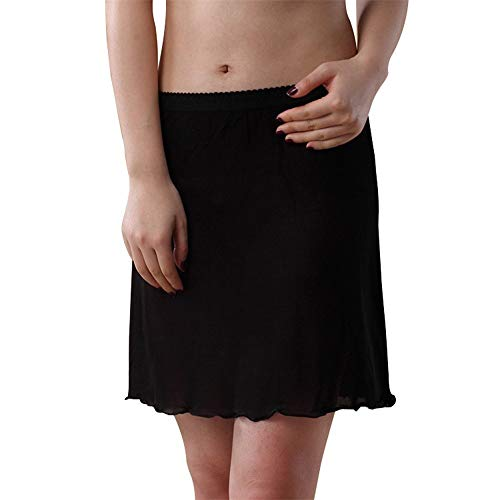 Idealady Damen 100% Seide Kurz Unterrock Mini Jupon Underskirt (M, Schwarz)