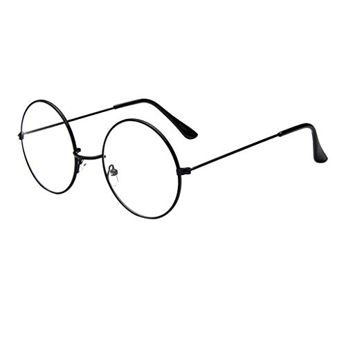 Toamen Fashion Oval Round Clear Lens Glasses Vintage Geek Nerd Retro Style Metal
