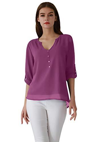 OMZIN Mujeres Casual Chifón Blusas con Cuello en V Camisas más el tamaño Manga Larga con Manguito Manga Verano Top Púrpura S