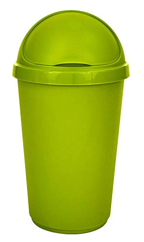 Whitefurze 50Lt Lime Green Plastic Flip Top Bullet Bin Waste Paper Rubbish Kitchen Office Bin by Whitefurze