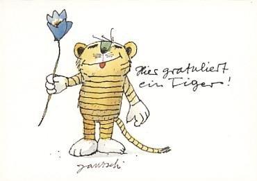 Janosch GeburtstagsPOSTkarte Tigergratulant