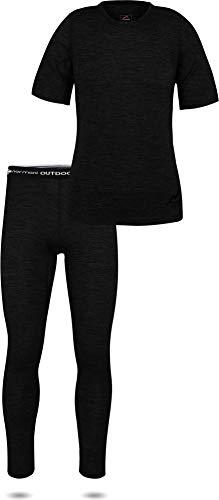 normani Damen Merino Unterwäsche-Set Garnitur (Langarmshirt Unterhemd und Unterhose) 100% Merinowolle Thermounterwäsche Ski-Funktionsunterwäsche Farbe Kurzarm Größe L