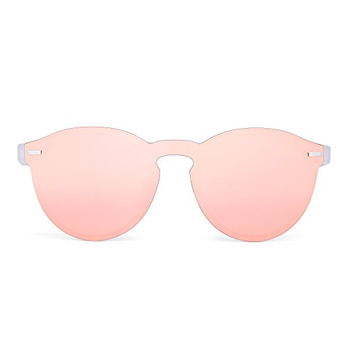 JIM HALO Gafas de Sol Redondas Polarizadas para Mujer Hombre Gafas Moda Sin Montura UV400 (Rosa/Mate Transparente)
