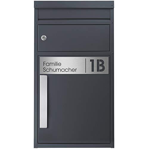 Paket-Briefkasten anthrazit-grau (RAL 7016) SafePost 45MS Design-Paketkasten modern für alle Paketdienste Paketbox mit Briefkasten Standbriefkasten